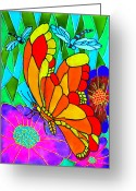 Flowers Glass Art Greeting Cards - We Fly Greeting Card by Farah Faizal