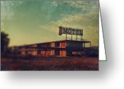 Abandoned  Digital Art Greeting Cards - We Met at the Old Motel Greeting Card by Laurie Search