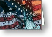 Stripes Greeting Cards - We The People For Canvas Greeting Card by Dancin Artworks