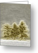 Pulp Greeting Cards - We Three Trees Greeting Card by Bill Tiepelman