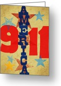 Red White And Blue Mixed Media Greeting Cards - We will never forget Greeting Card by Russell Pierce