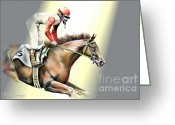 Horserace Greeting Cards - We Won Greeting Card by Adele Pfenninger