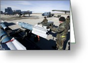 Paveway Greeting Cards - Weapons Crews Load A Gbu-12 Laser Greeting Card by HIGH-G Productions