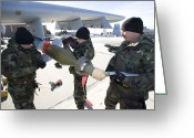 Smart Greeting Cards - Weapons Crews Prepare A Gbu-12 Laser Greeting Card by HIGH-G Productions
