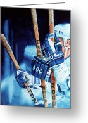 Hockey Action Greeting Cards - Weapons of Choice Greeting Card by Hanne Lore Koehler