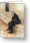 Elderly Painting Greeting Cards - Weary Greeting Card by Sam Sidders