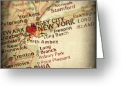 New York City Map Greeting Cards - Weathered Antique Map in a Grunge Vintage border with a Heart of Greeting Card by ELITE IMAGE photography By Chad McDermott