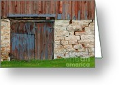 Old Doors Greeting Cards - Weathered Barn Door Greeting Card by Perry Webster