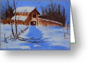 Abandoned House Painting Greeting Cards - Weathered Barn Greeting Card by Yosvany Baez