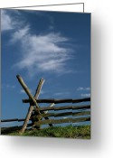 Split-rail Fence Greeting Cards - Weathered Fence Greeting Card by Judi Quelland