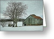 Wooden Barns Greeting Cards - Weathered Greeting Card by Heather Applegate