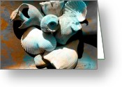 Shells Mixed Media Greeting Cards - Weathered Shells No. 1 Greeting Card by Paul Gaj