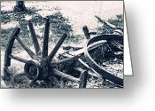 Sunny Days Greeting Cards - Weathered Wagon Wheel Broken Down Greeting Card by Tracie Kaska