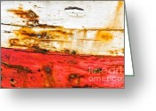 Stripe.paint Greeting Cards - Weathered with red stripe Greeting Card by Silvia Ganora