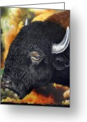 Bison Greeting Cards - Weathering Storm Greeting Card by Jurek Zamoyski