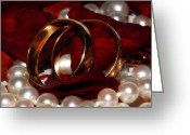 Husband And Wife Greeting Cards - Wedding Bands And Rose Petals Greeting Card by Tracie Kaska