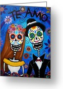 Mexican Flowers Greeting Cards - Wedding Couple  Greeting Card by Pristine Cartera Turkus