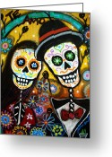Guitar Greeting Cards - Wedding Dia De Los Muertos Greeting Card by Pristine Cartera Turkus