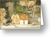 Reception Photo Greeting Cards - Wedding party favors on plate at reception Greeting Card by Sandra Cunningham