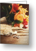 Engagement Gift Greeting Cards - Wedding ring with bouquet on velvet  Greeting Card by Sandra Cunningham