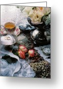 Teacup Greeting Cards - Wedding rings Greeting Card by Garry Gay