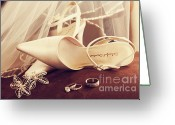 Veil Greeting Cards - Wedding shoes with veil and rings on velvet chair Greeting Card by Sandra Cunningham