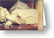 Innocence Greeting Cards - Wedding shoes with veil on velvet chair Greeting Card by Sandra Cunningham