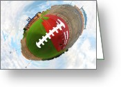 Touchdown Greeting Cards - Wee Football Greeting Card by Nikki Marie Smith