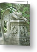 White And Purple Wings Greeting Cards - Weeping Angel Front View Greeting Card by Cindy Hogan