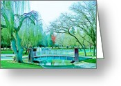 Willows Digital Art Greeting Cards - Weeping Willow Bridge Greeting Card by Lisa McKinney
