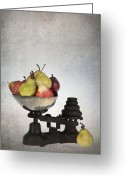 Merchandise Photo Greeting Cards - Weighing pears Greeting Card by Jane Rix