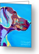 Animal Art Greeting Cards - Weimaraner - Blue Greeting Card by Alicia VanNoy Call