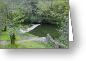 Dry Stone Wall Greeting Cards - Weir Below Lovers Leap - Dovedale Greeting Card by Rod Johnson