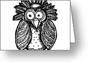 Owl Drawings Greeting Cards - Weird O Bird Greeting Card by Karl Addison