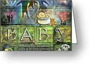Baby Girl Greeting Cards - Welcome Baby Greeting Card by Evie Cook