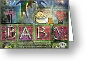 Baby Girl Greeting Cards - Welcome Baby Girl Greeting Card by Evie Cook