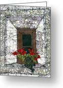 Fine Art Batik Tapestries - Textiles Greeting Cards - Welcome Mats at Windows Greeting Card by Kristine Allphin