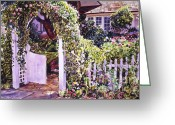 Garden Pathway Greeting Cards - Welcome Rose Covered Gate Greeting Card by David Lloyd Glover
