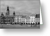 Place Greeting Cards - Welcome to Ceske Budejovice - Budweis Czech Republic Greeting Card by Christine Till