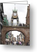 Clock Greeting Cards - Welcome to Chester Greeting Card by Mike McGlothlen