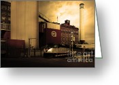 Factories Greeting Cards - Welcome To Crockett California Blue Collar USA . Golden . 7D8856 Greeting Card by Wingsdomain Art and Photography