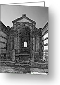 Cemetery Gate Greeting Cards - Welcome to Eternity monochrome Greeting Card by Steve Harrington