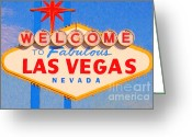 Vintage Signs Greeting Cards - Welcome To Fabulous Las Vegas Nevada Greeting Card by Wingsdomain Art and Photography