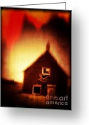 Scare Greeting Cards - Welcome to Hell House Greeting Card by Edward Fielding