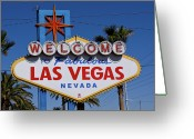 Las Vegas Greeting Cards - Welcome To Las Vegas Greeting Card by Photo taken by Darren Olley