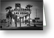 Nv Greeting Cards - Welcome To Las Vegas Series Holga Black and White Greeting Card by Ricky Barnard