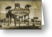 Fabulous Greeting Cards - Welcome To Las Vegas Series Sepia Grunge Greeting Card by Ricky Barnard