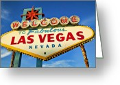 Clouds Photo Greeting Cards - Welcome to Las Vegas sign Greeting Card by Garry Gay