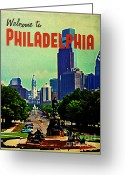 Philadelphia Greeting Cards - Welcome To Philadelphia Greeting Card by Vintage Poster Designs