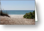 Path Greeting Cards - Welcome to the Beach Greeting Card by Carol Groenen